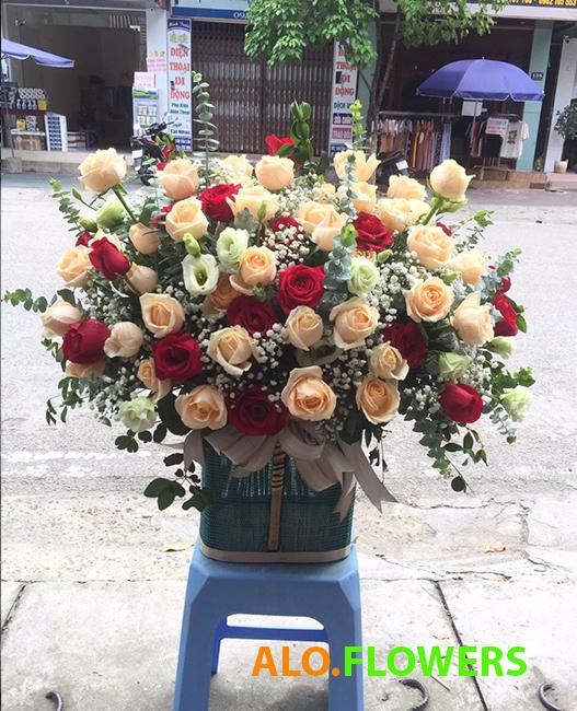 hoa sinh nhật đẹp giỏ