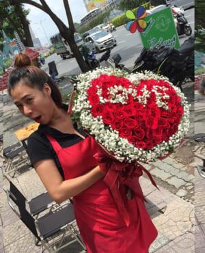 bó hoa trái tim